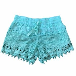 Teal blue lace lined shorts